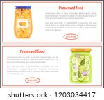 preserved food banners with... | Shutterstock .eps vector #1203034417