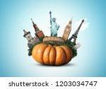 big yellow pumpkin with sights  ... | Shutterstock . vector #1203034747