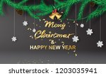 paper art of merry christmas... | Shutterstock .eps vector #1203035941