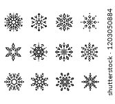 snowflakes icon collection.... | Shutterstock .eps vector #1203050884