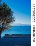 mytilene island and aegean sea. ... | Shutterstock . vector #1203051334