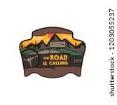 wanderlust logo emblem. road...   Shutterstock .eps vector #1203055237