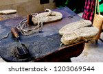 Stock photo set of tools for making shoe and espadrille soles made with hemp and esparto grass 1203069544