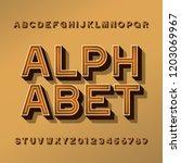 retro alphabet typeface. 3d... | Shutterstock .eps vector #1203069967