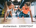 two sporty girls doing push ups ... | Shutterstock . vector #1203075247
