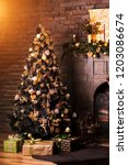 christmas tree with decorations ... | Shutterstock . vector #1203086674