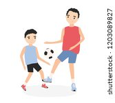 happy father and son playing... | Shutterstock .eps vector #1203089827