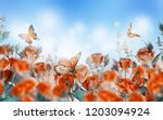 Stock photo bouquet of pink roses with butterflies garden flowers floral background 1203094924