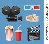 cinema 3d icons. movie... | Shutterstock .eps vector #1203096391