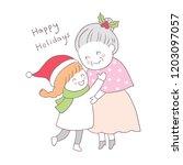 cartoon cute christmas girl hug ...   Shutterstock .eps vector #1203097057