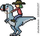 vector pixel art dinosaur rider ... | Shutterstock .eps vector #1203101257