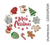 set of christmas homemade... | Shutterstock .eps vector #1203109234