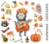 hand drawn watercolor halloween ... | Shutterstock . vector #1203112441