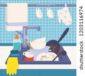 kitchen sink full of dirty... | Shutterstock .eps vector #1203116974