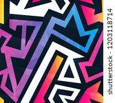 rainbow maze seamless pattern   Shutterstock . vector #1203118714