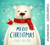 christmas polar bear with red... | Shutterstock .eps vector #1203130411