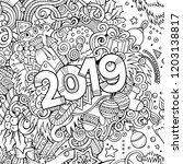 2019 hand drawn doodles contour ...   Shutterstock .eps vector #1203138817