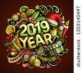 2019 hand drawn doodles... | Shutterstock .eps vector #1203140497