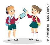 smiling schoolkid holding... | Shutterstock .eps vector #1203158974