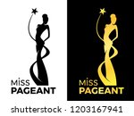 miss lady pageant logo sign... | Shutterstock .eps vector #1203167941