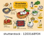 bruschetta with pesto sauce ... | Shutterstock .eps vector #1203168934