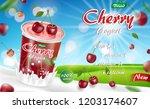 cherry yogurt with splash... | Shutterstock .eps vector #1203174607