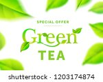 green tea leaves on white... | Shutterstock .eps vector #1203174874