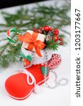 christmas decor for the holiday | Shutterstock . vector #1203177667