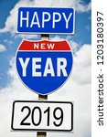 hapy new year 2019 written on... | Shutterstock . vector #1203180397