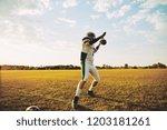 american football quarterback... | Shutterstock . vector #1203181261