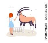 girl touching an antelope in... | Shutterstock .eps vector #1203182131