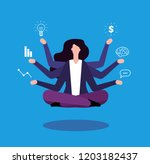 multitasking businesswoman.... | Shutterstock .eps vector #1203182437