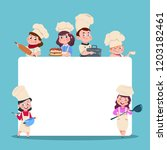 little cooks. cartoon children... | Shutterstock .eps vector #1203182461