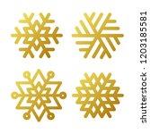 snowflake winter set of gold... | Shutterstock .eps vector #1203185581