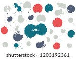 hand drawn set of colorful ink...   Shutterstock .eps vector #1203192361