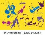 hand drawn set of blue  violet...   Shutterstock .eps vector #1203192364