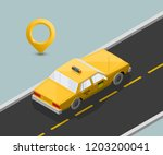 yellow cab banner isometric.... | Shutterstock .eps vector #1203200041