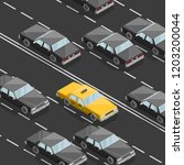 flat 3d isometric yellow taxi... | Shutterstock .eps vector #1203200044