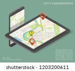 city map route navigation... | Shutterstock .eps vector #1203200611
