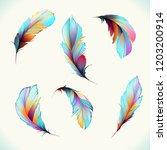 set of feathers. illustration... | Shutterstock .eps vector #1203200914