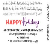 happy holidays. hand drawn... | Shutterstock .eps vector #1203207334