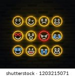 vector emoji icon set in... | Shutterstock .eps vector #1203215071