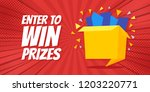 enter to win prizes gift box.... | Shutterstock .eps vector #1203220771