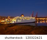 ship at night in the port of...