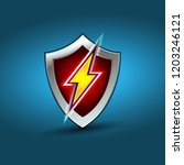 lightning shield  electric... | Shutterstock .eps vector #1203246121