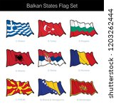 balkan states waving flag set.... | Shutterstock .eps vector #1203262444