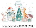 watercolor merry christmas... | Shutterstock . vector #1203271354