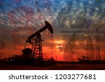 the oil pump  the dollar and... | Shutterstock . vector #1203277681