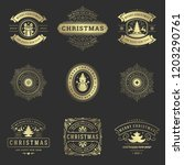 christmas labels and badges... | Shutterstock .eps vector #1203290761