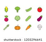 vegetables icon set in flat... | Shutterstock . vector #1203296641